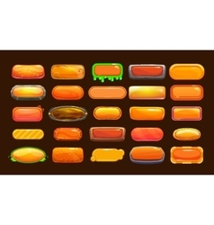 Funny cartoon orange long horizontal buttons vector