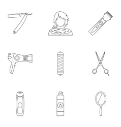 Hairstyle icons set outline style vector