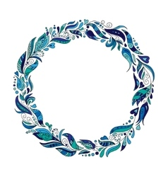 Hand drawn wreath with blue flowers and leaves vector image