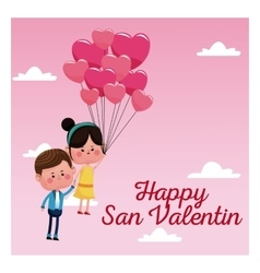 Happy san valentine card couple branch balloons vector