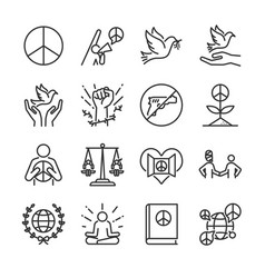 Human rights line icon set vector
