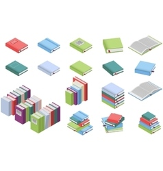 Isometric books set vector image