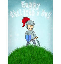 knight happy childrens day vector image