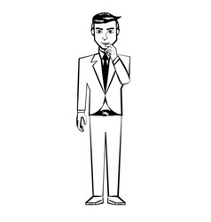 man character posture line vector image