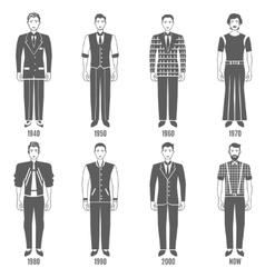 Men Fashion Black White Evolution Icons Set vector image vector image