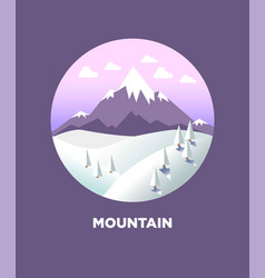 Mountain landscape in round logo flat icon vector