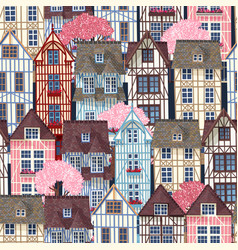old town seamless pattern vector image vector image