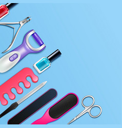 pedicure tools frame vector image vector image