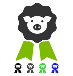 Pig award stamp flat icon vector