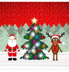 Reindeer and santa claus with christmas tree vector