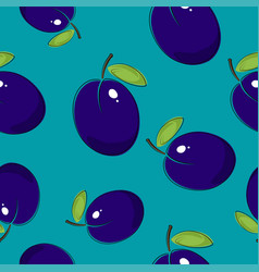 Seamless pattern plum on azure background vector