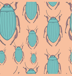 seamless pattern with beetles vector image vector image