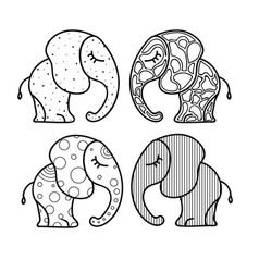 set of cute little elephant with ornaments hand vector image