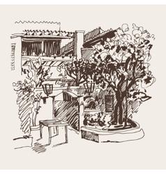 Sketch drawing of slovenska plaza hotel street in vector