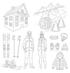Ski resort icons set vector image vector image