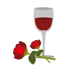Wine cup with rose vector