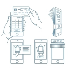 Mobile payment set vector