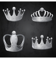 Set of old silver crowns isolated vector