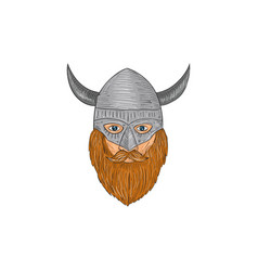 Viking warrior head drawing vector