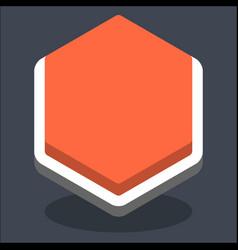3d flat blank hexagon web internet button vector image