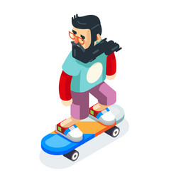 hipster geek scater ride scateboard cartoon vector image