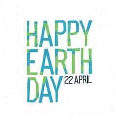 Happy earth day 22 april abstract logo design vector