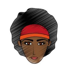 Color pencil cartoon front face brunette woman vector