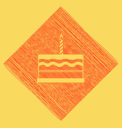 birthday cake sign  red scribble icon vector image