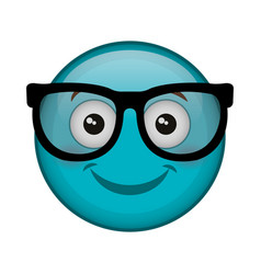 Nerd face emoticon kawaii character vector
