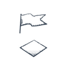 Hand drawn blank vintage flag and rhombus shape vector