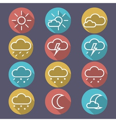 Weather flat icons vector