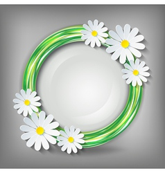 Eco conceptual background with 3d chamomile vector image