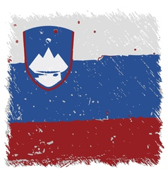 Flag of slovenia handmade square shape vector