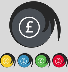 Pound sterling icon sign symbol on five colored vector