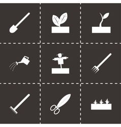 Black farming icon set vector