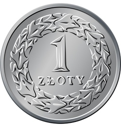 Reverse polish money one zloty coin vector