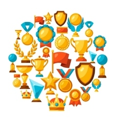 Sport or business background with award icons vector