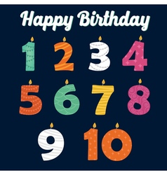 Happy birthday candles in numbers vector