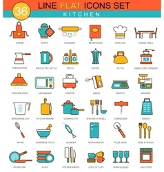 Kitchen flat line icon set modern elegant vector