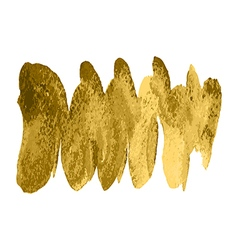 Gold paint spiral wave smear stroke stain on white vector