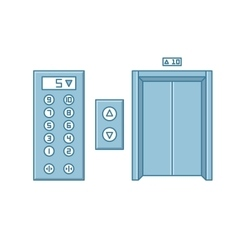 Close office building elevator and button panel vector