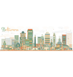 Abstract baltimore skyline with color buildings vector