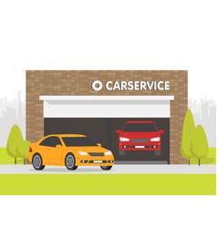 Automobile repair shop garage the car on vector