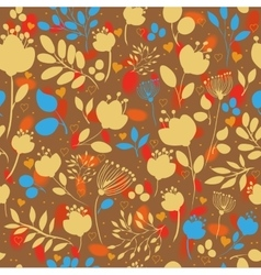 Autumn flowers fall seamless pattern vector