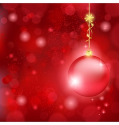 Beautiful red Christmas background with bauble and vector image vector image
