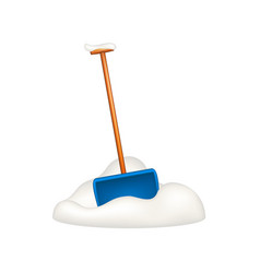blue snow shovel standing in snow vector image vector image