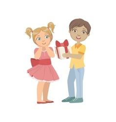 Boy giving a present to girl with ponytails vector