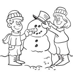 Cartoon Kids Building a Snowman vector image vector image