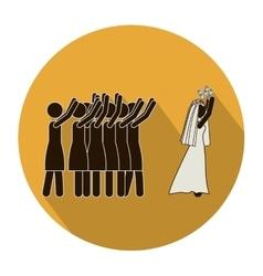 Circular shape pictogram of wife throwing a vector