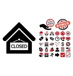 Closed Office Flat Icon with Bonus vector image